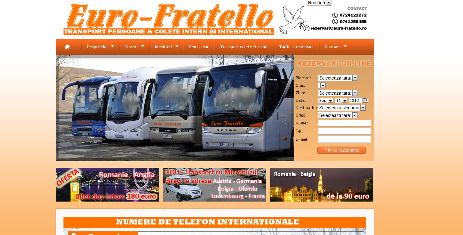 www.euro-fratello.ro Webdesign firma transport persoane internationale