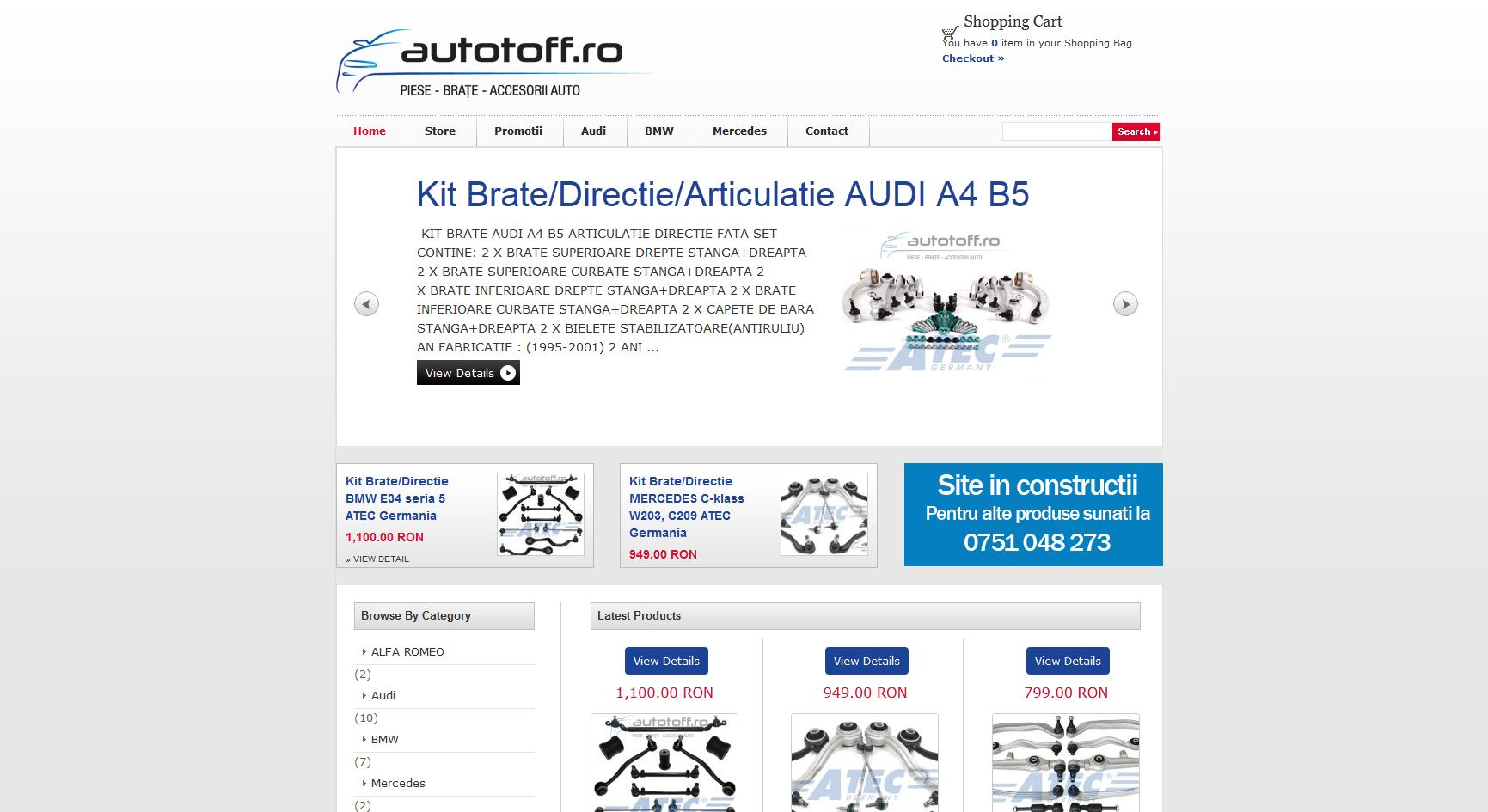 Web design magazin on-line cu piese auto
